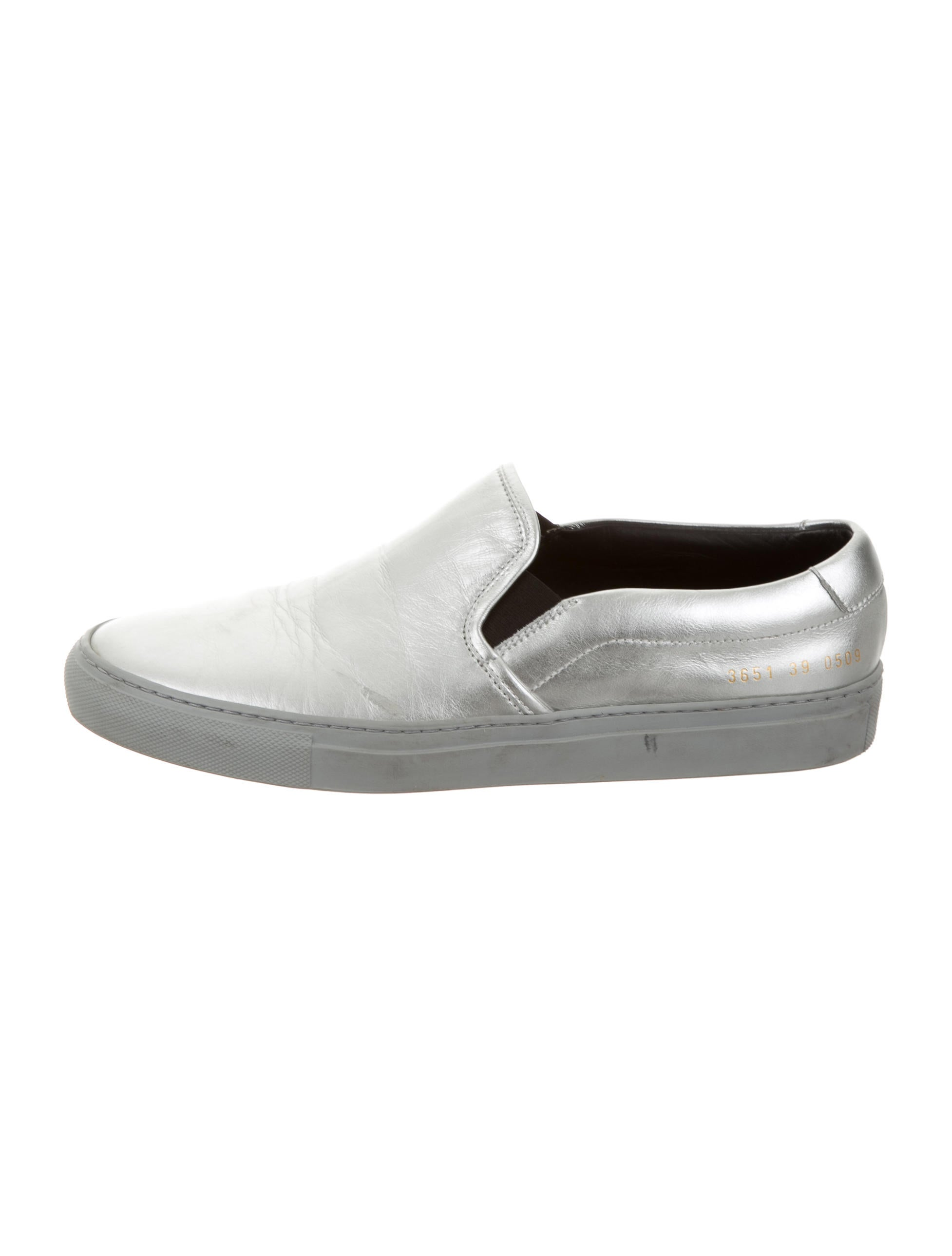 by common projects metallic slip on sneakers shoes