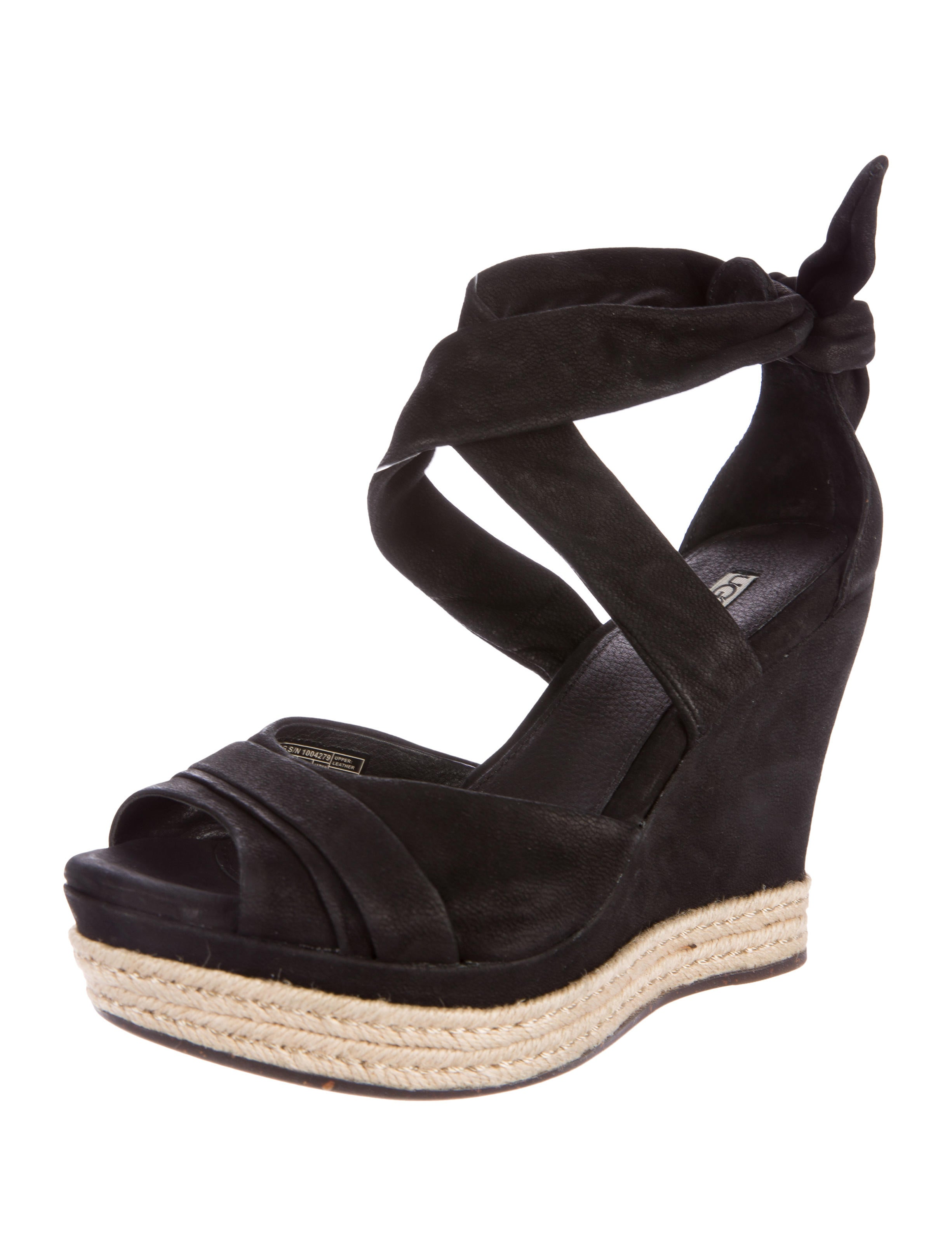 ugg australia leather espadrille wedges shoes