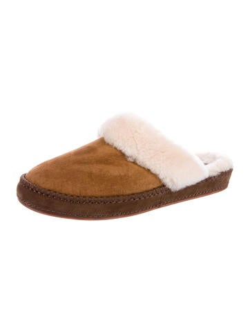 Shearling-Trimmed Suede Slippers