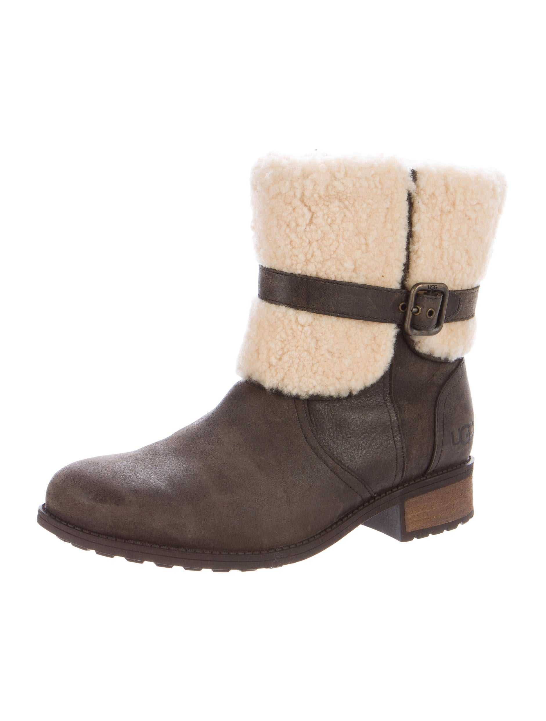 ugg australia shearling trimmed suede ankle boots shoes