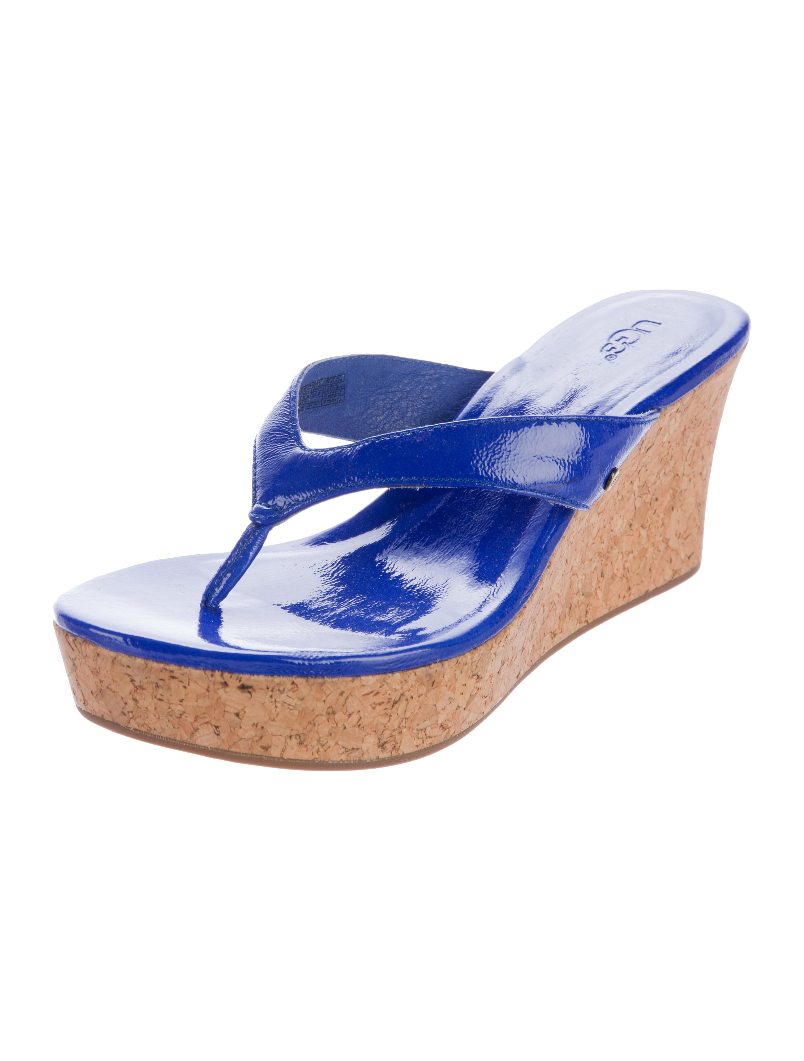 ugg australia patent leather wedges shoes