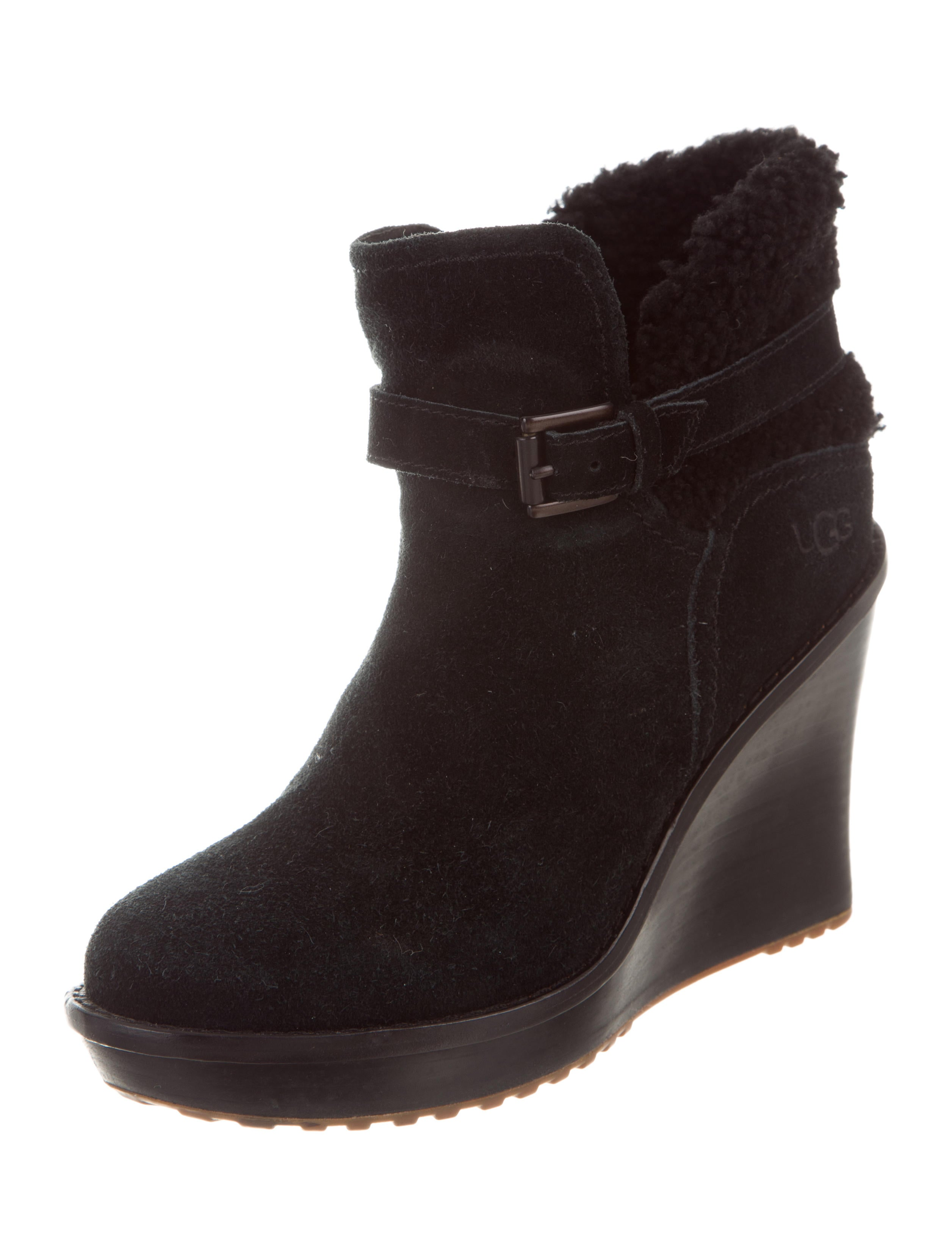ugg australia shearling trimmed wedge boots shoes