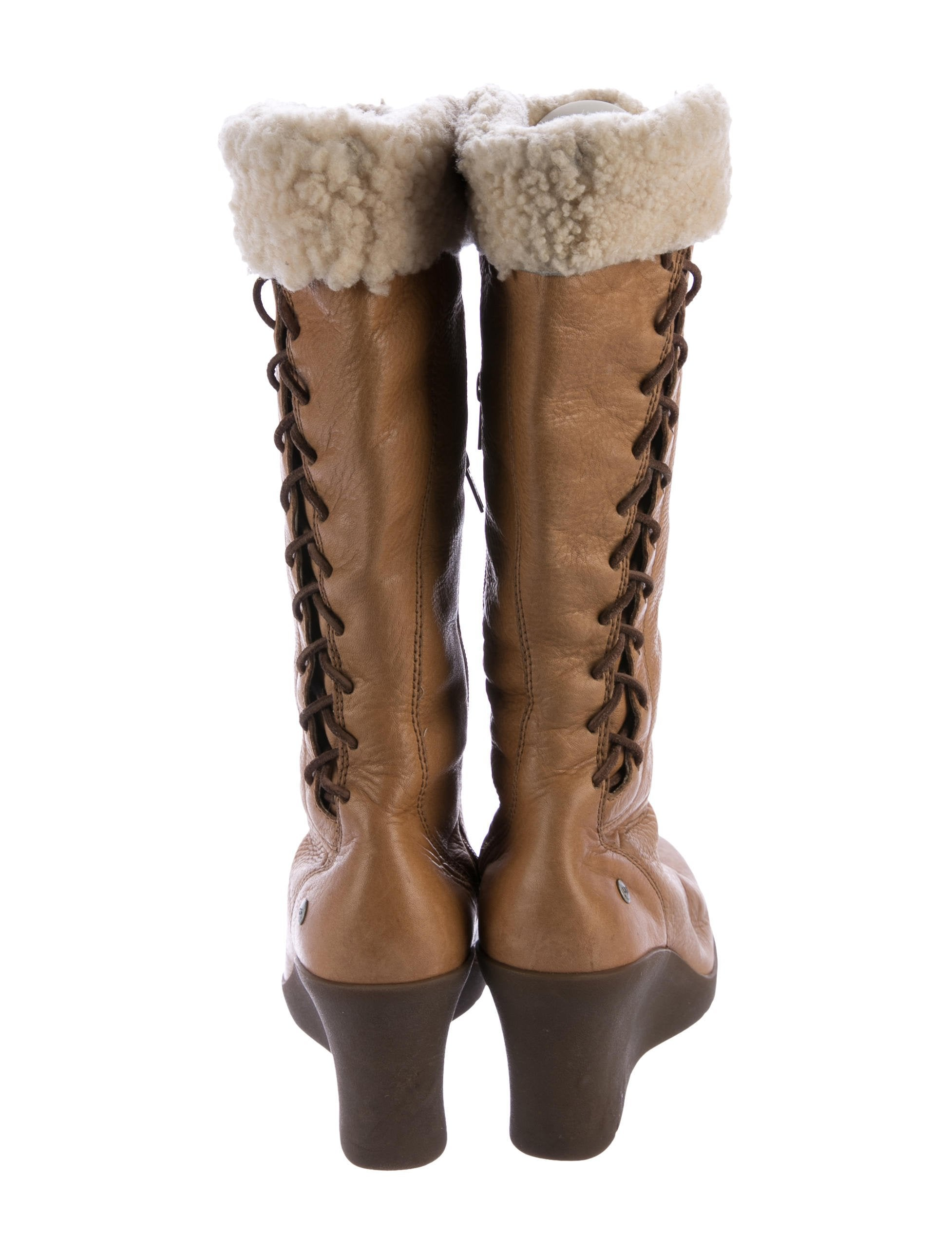 Ugg Australia Leather Knee High Wedge Boots Shoes