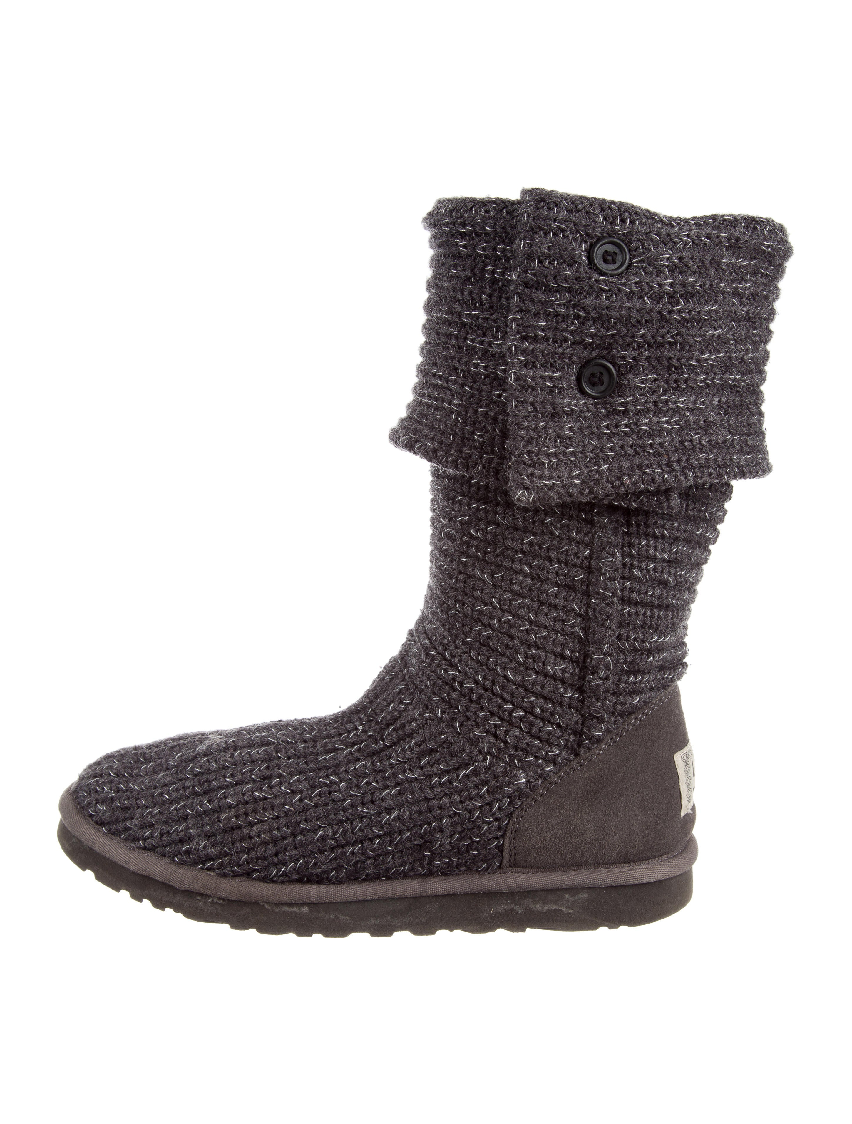 buy online with paypal fake online UGG Australia Knit Suede-Trimmed Boots XWbwMa0