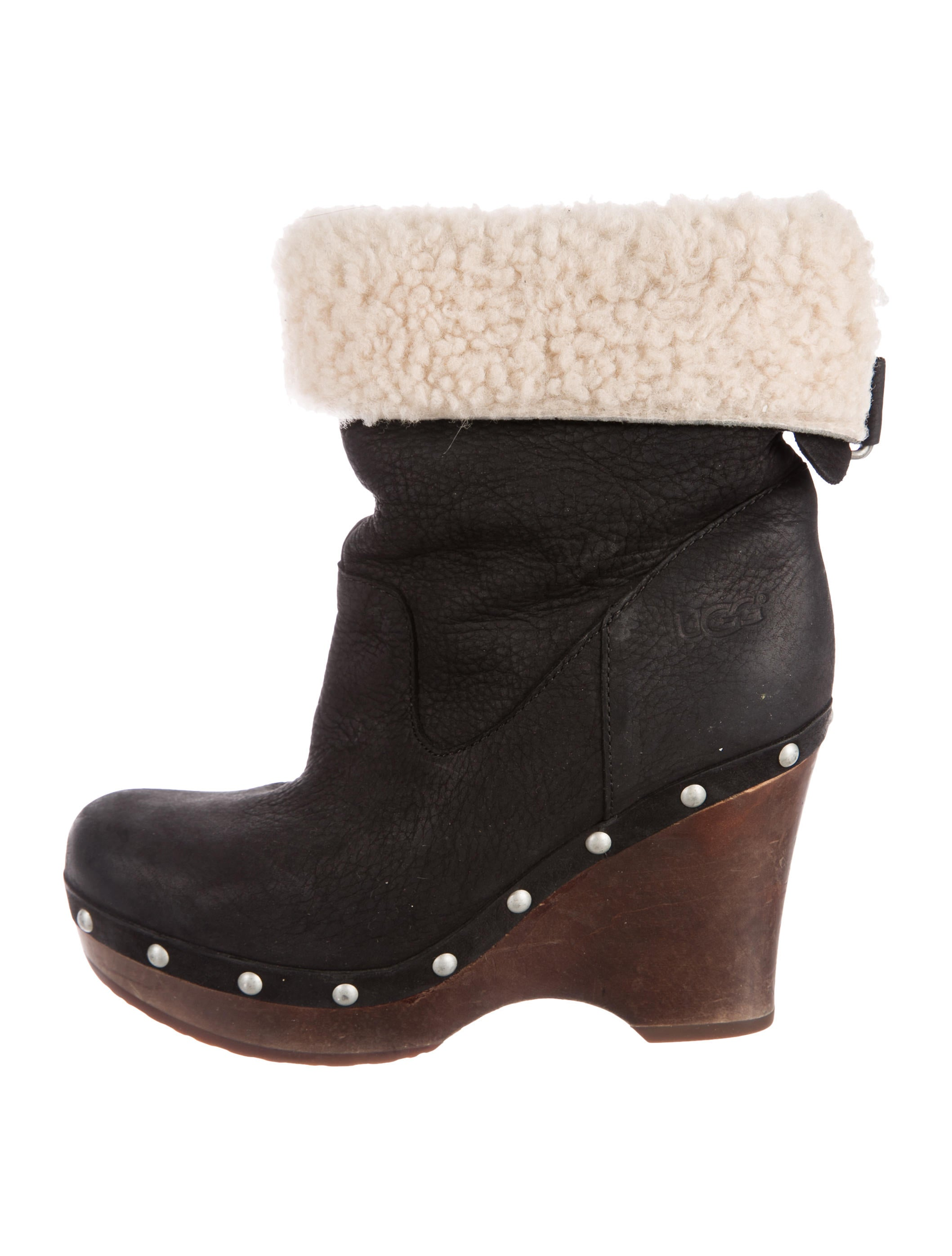 UGG Australia Shearling-Trimmed Suede Booties discount affordable YaJFw