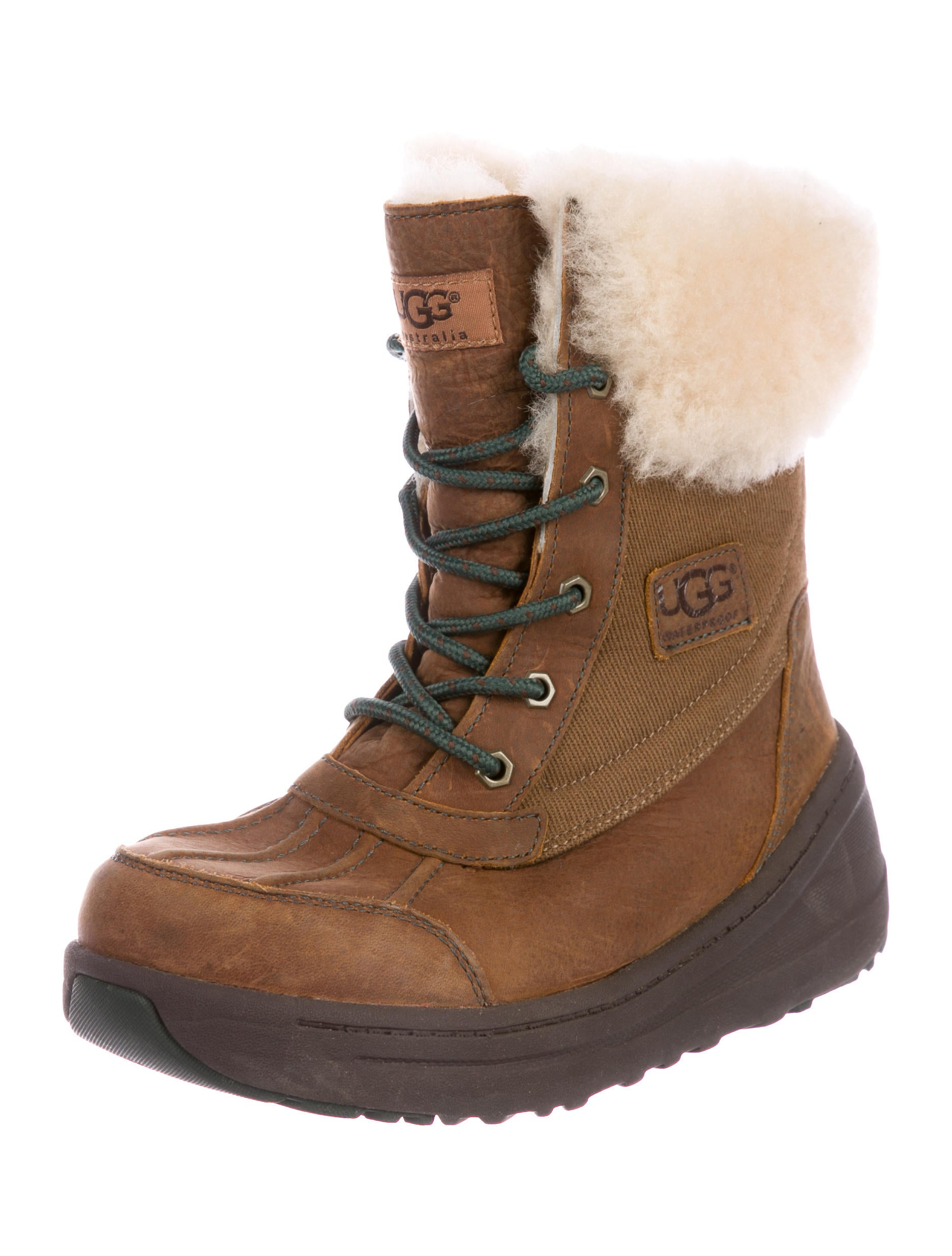 amazing price for sale UGG Australia Leather Shearling-Trimmed Snow Boots with paypal online wiki sale online outlet browse clearance low cost GVqKl5Dz