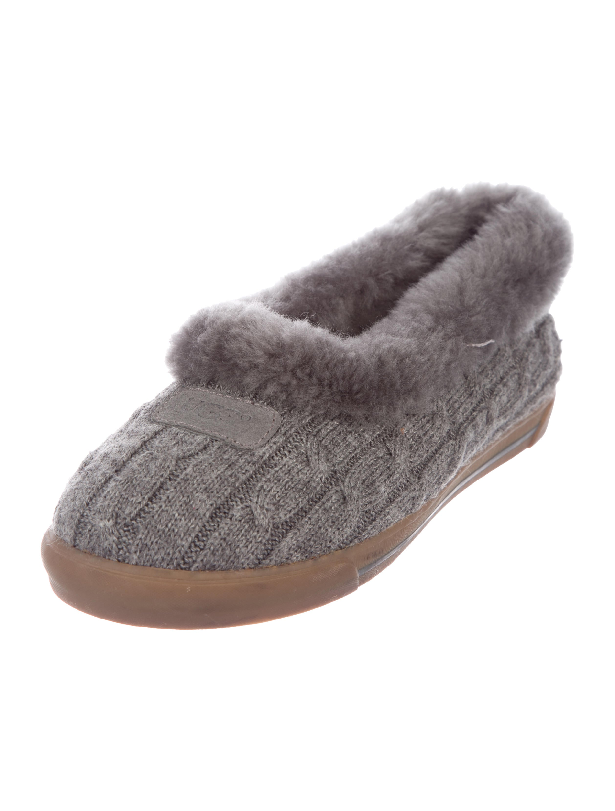Ugg Australia Shearling Lined Cable Knit Slippers Shoes