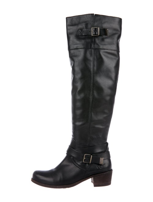 UGG Bess Leather Riding Boots Black