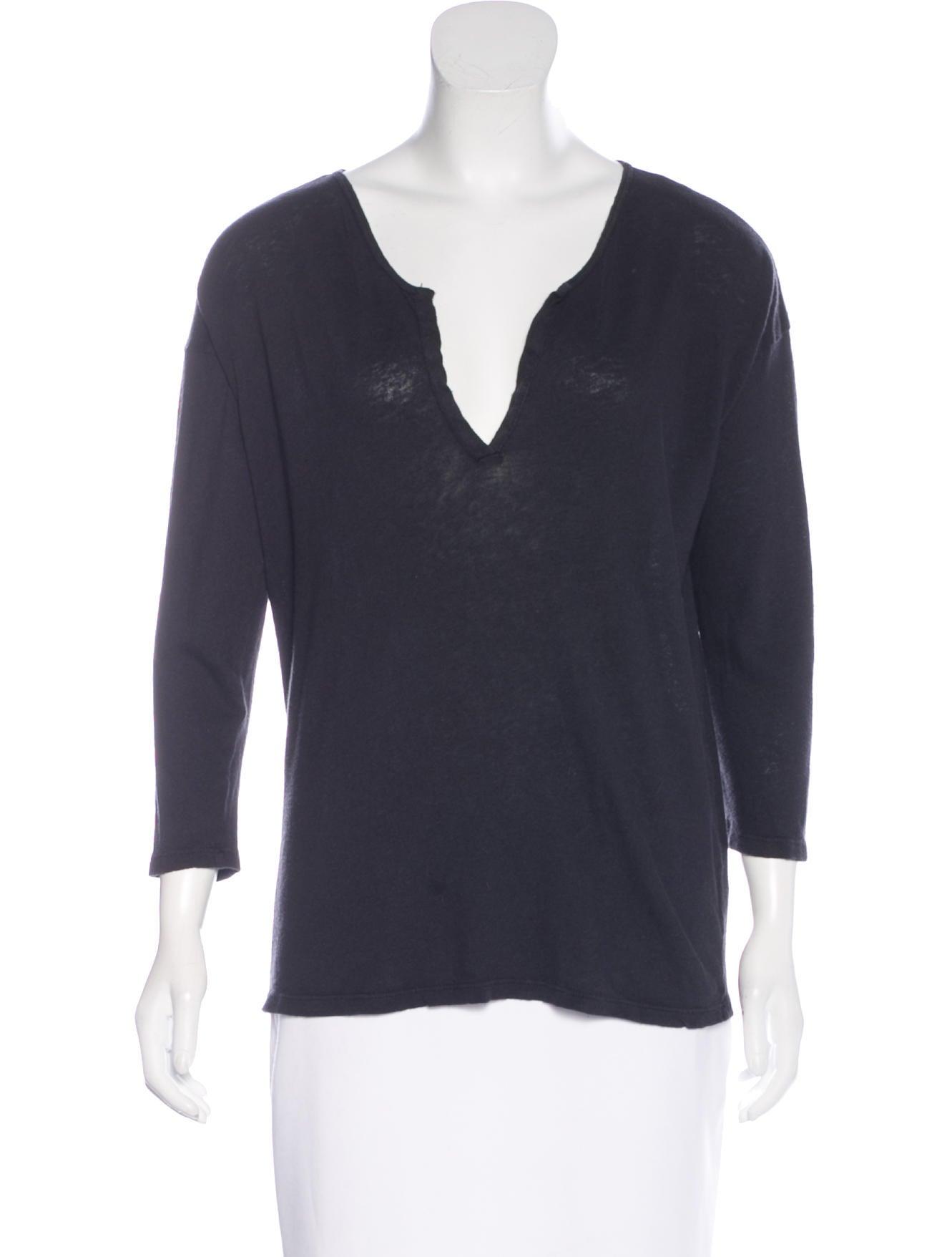 Crippen V Neck Long Sleeve T Shirt Clothing Wuz20420