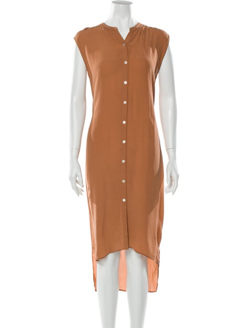 Crippen Silk Knee-Length Dress Orange