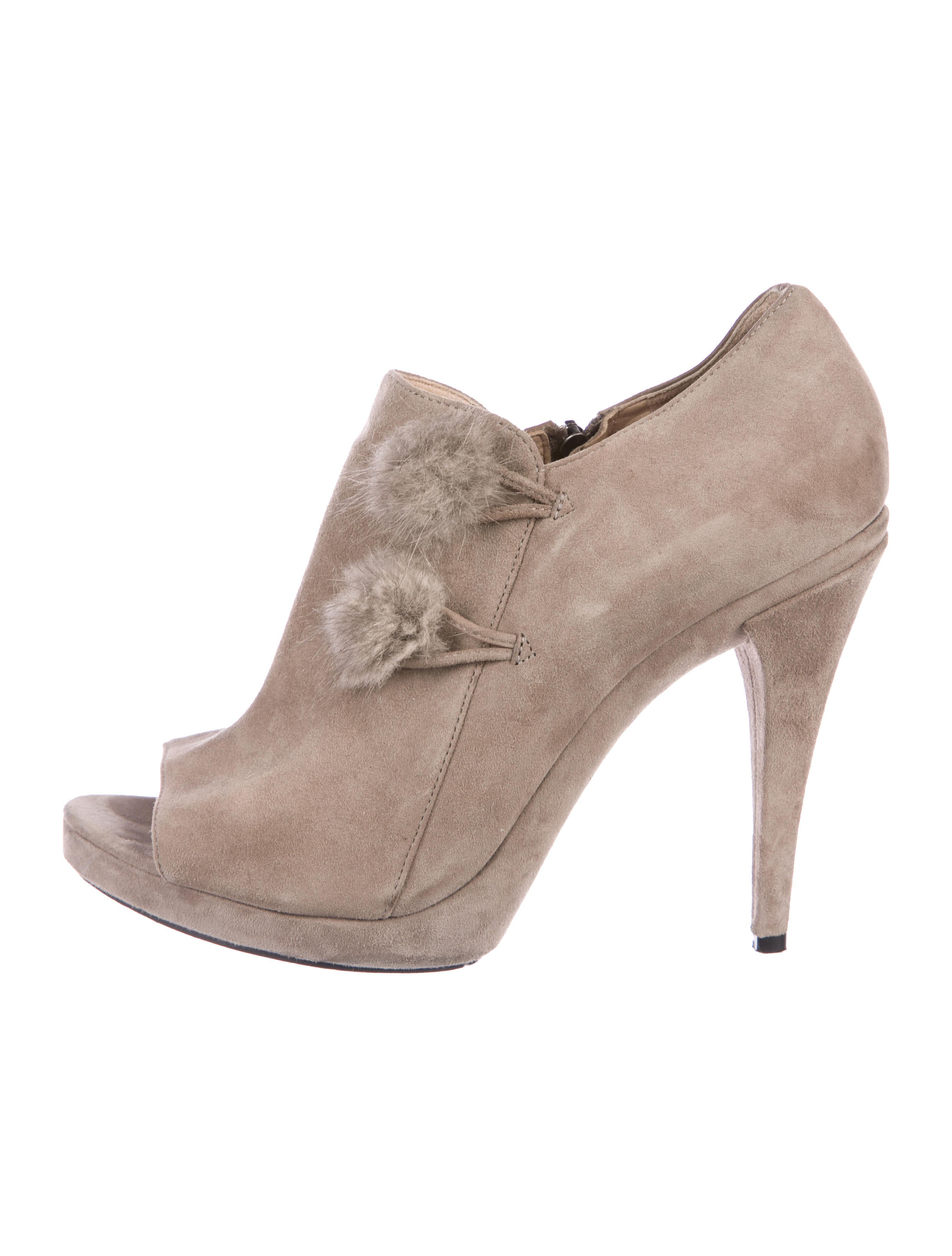 2014 sale online Via Spiga Fur-Accented Peep-Toe Booties footlocker online J94Vz0DzsE