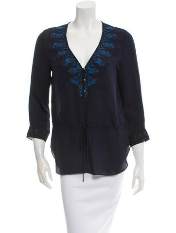 Veronica Beard Embroidered Patterned Button-Up Top w/ Tags None