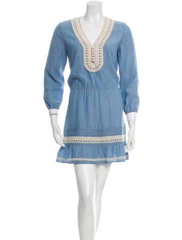 Veronica Beard Crocheted Three-Quarter Sleeve Dress