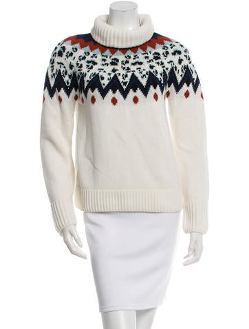 Veronica Beard Patterned Turtleneck Sweater None
