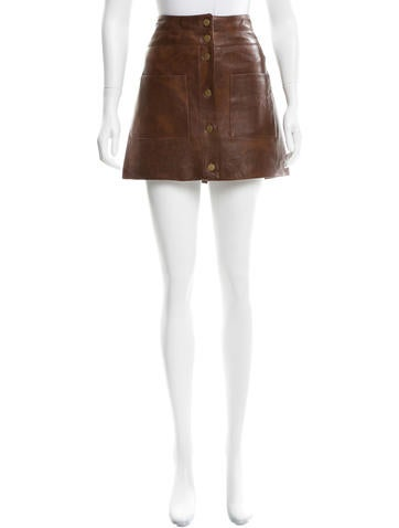 Veronica Beard Leather Mini Skirt None