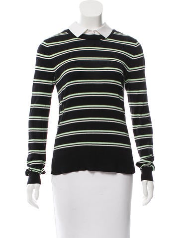 Veronica Beard Striped High-Low Top None