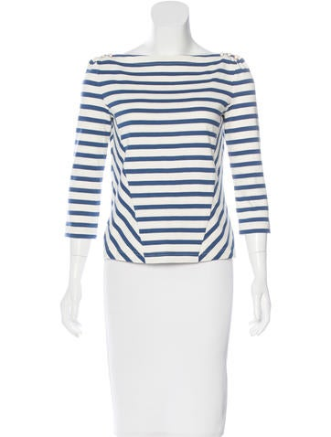 Veronica Beard Striped Knit Top None