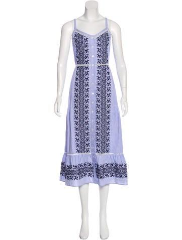 Veronica Beard Embroidered Sleeveless Dress None