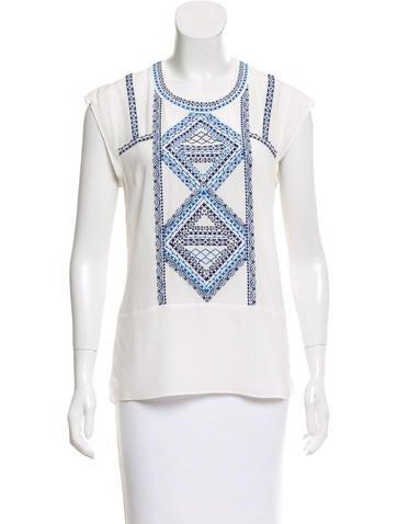 Veronica Beard Embroidery Silk Top None