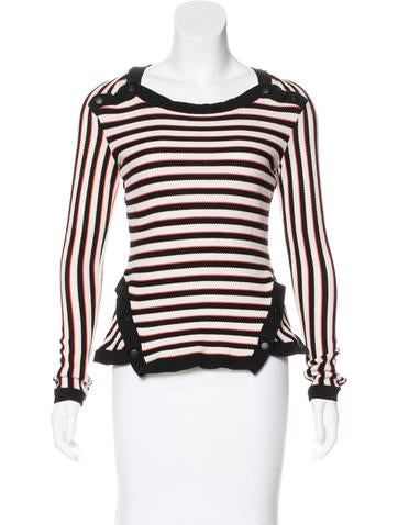 Veronica Beard Long Sleeve Striped Top None