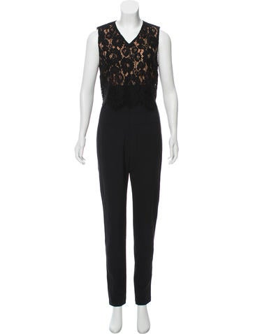Veronica Beard Wright Lace-Paneled Jumpsuit w/ Tags None