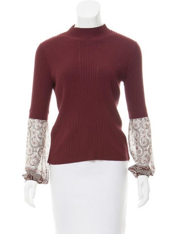 Veronica Beard Contrast Rib Knit Top None