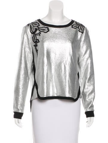 Veronica Beard Metallic Patterned Sweater None