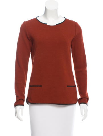 Veronica Beard Leather-Trimmed Long Sleeve Sweater None