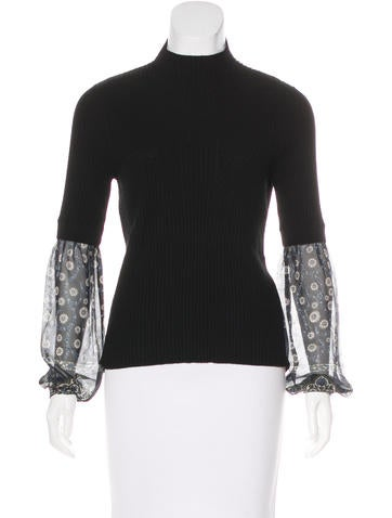 Veronica Beard Silk-Accented Knit Sweater None