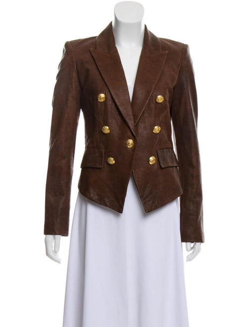 Veronica Beard Lamb Leather Blazer Brown
