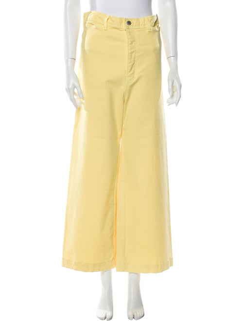 Veronica Beard High-Rise Wide Leg Jeans Yellow