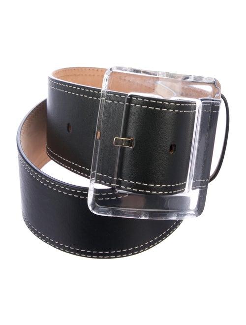Veronica Beard Wide Leather Belt Black