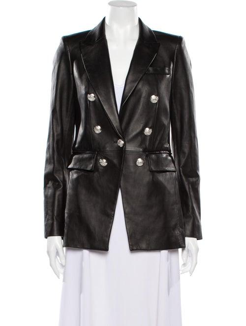 Veronica Beard Lamb Leather Blazer Black