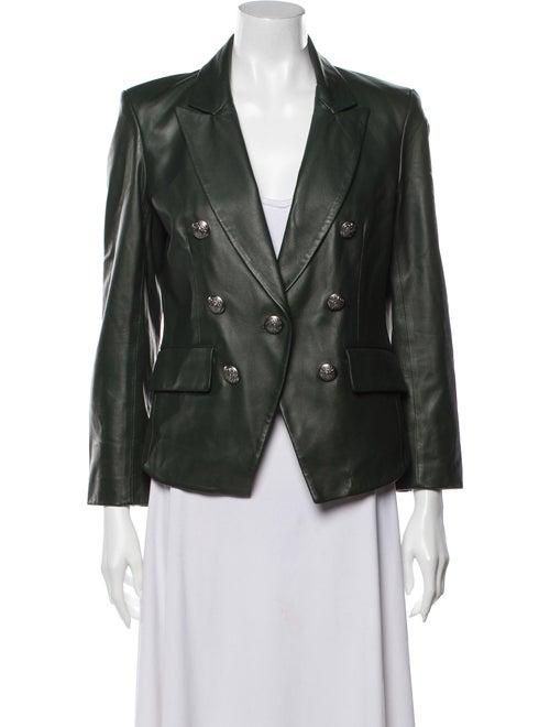 Veronica Beard Lamb Leather Blazer Green