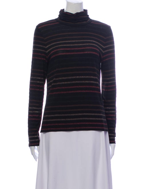 Veronica Beard Striped Turtleneck Sweater Black