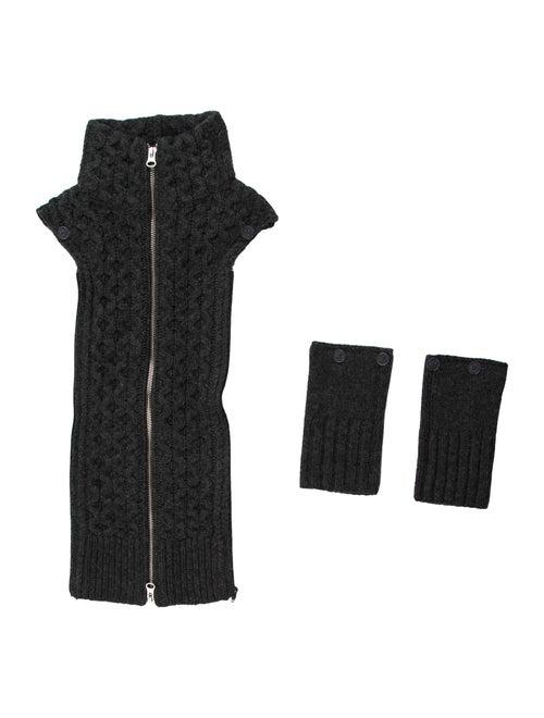 Veronica Beard Wool Knit Dickie Set Grey