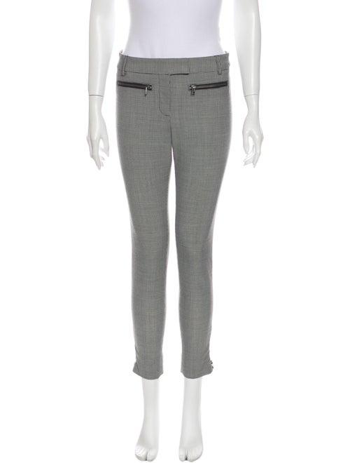Veronica Beard Plaid Print Skinny Leg Pants Grey