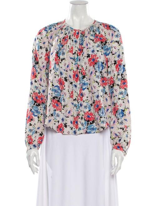 Veronica Beard Silk Floral Print Blouse White