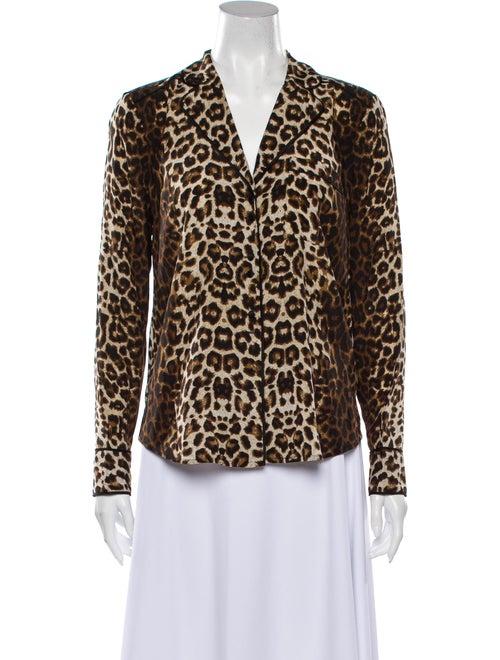 Veronica Beard Silk Animal Print Pajamas Brown