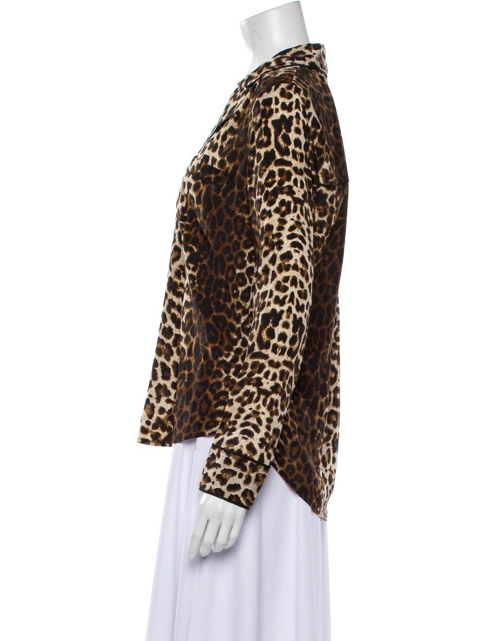 Veronica Beard Silk Animal Print Top Brown - image 2