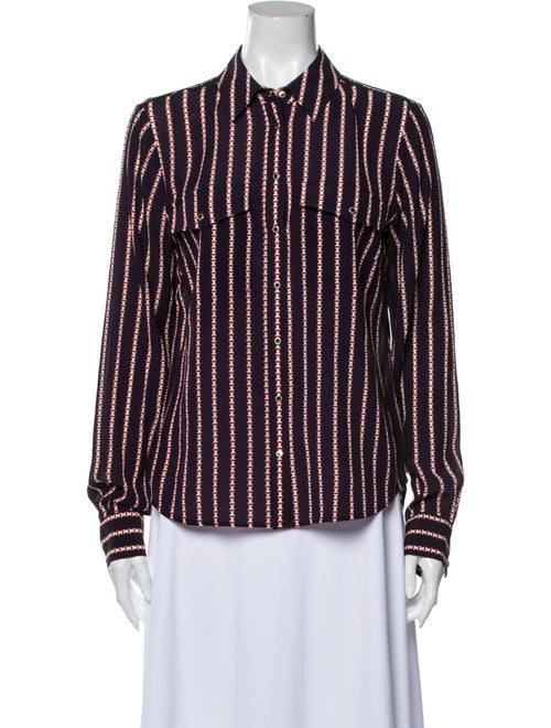 Veronica Beard Silk Striped Button-Up Top w/ Tags