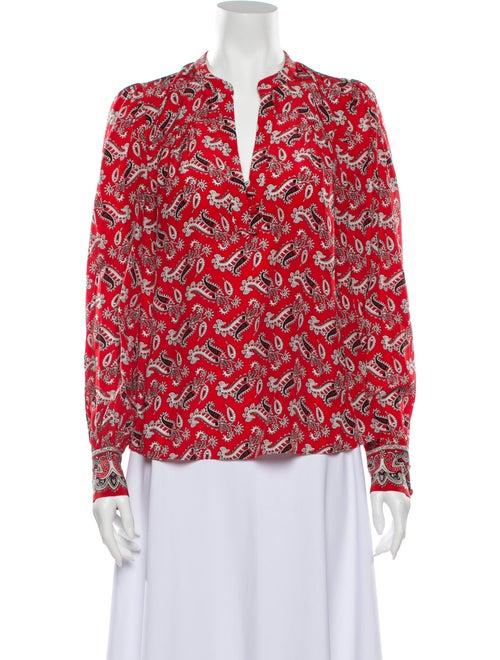 Veronica Beard Silk Paisley Print Blouse Red