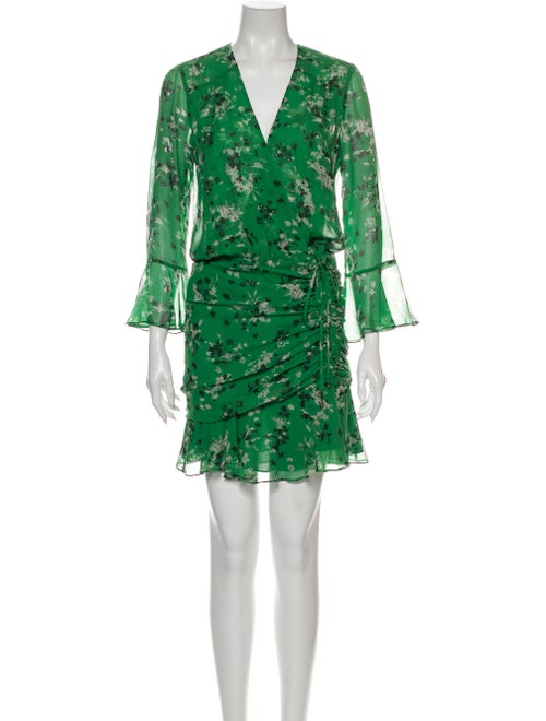 Veronica Beard Silk Mini Dress Green