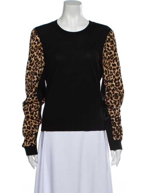 Veronica Beard Merino Wool Animal Print Sweater Wo