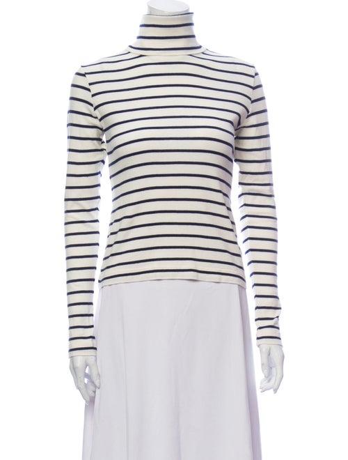 Veronica Beard Striped Turtleneck Sweater White