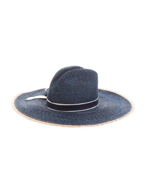Veronica Beard Straw Wide Brim Hat Blue - image 1