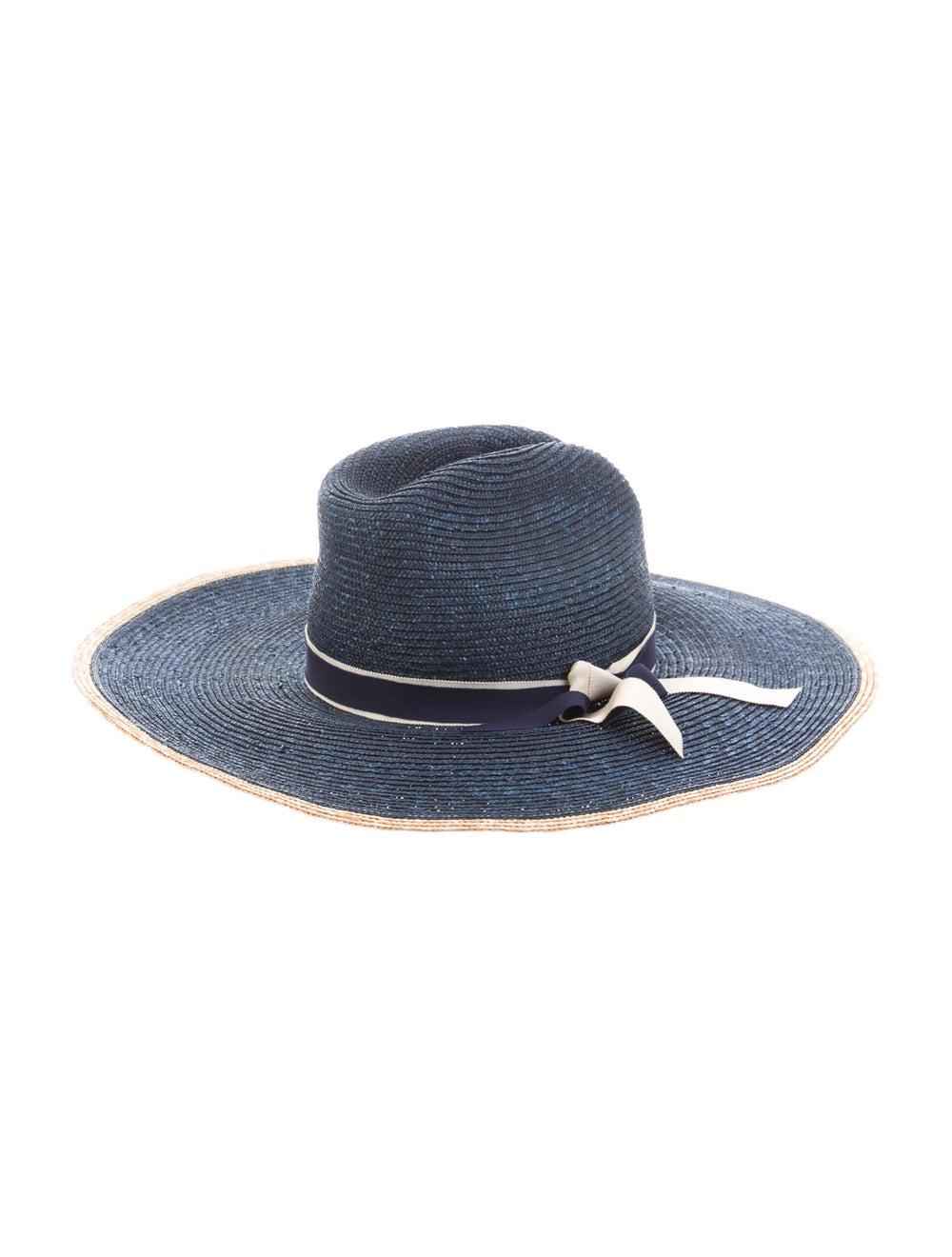 Veronica Beard Straw Wide Brim Hat Blue - image 2
