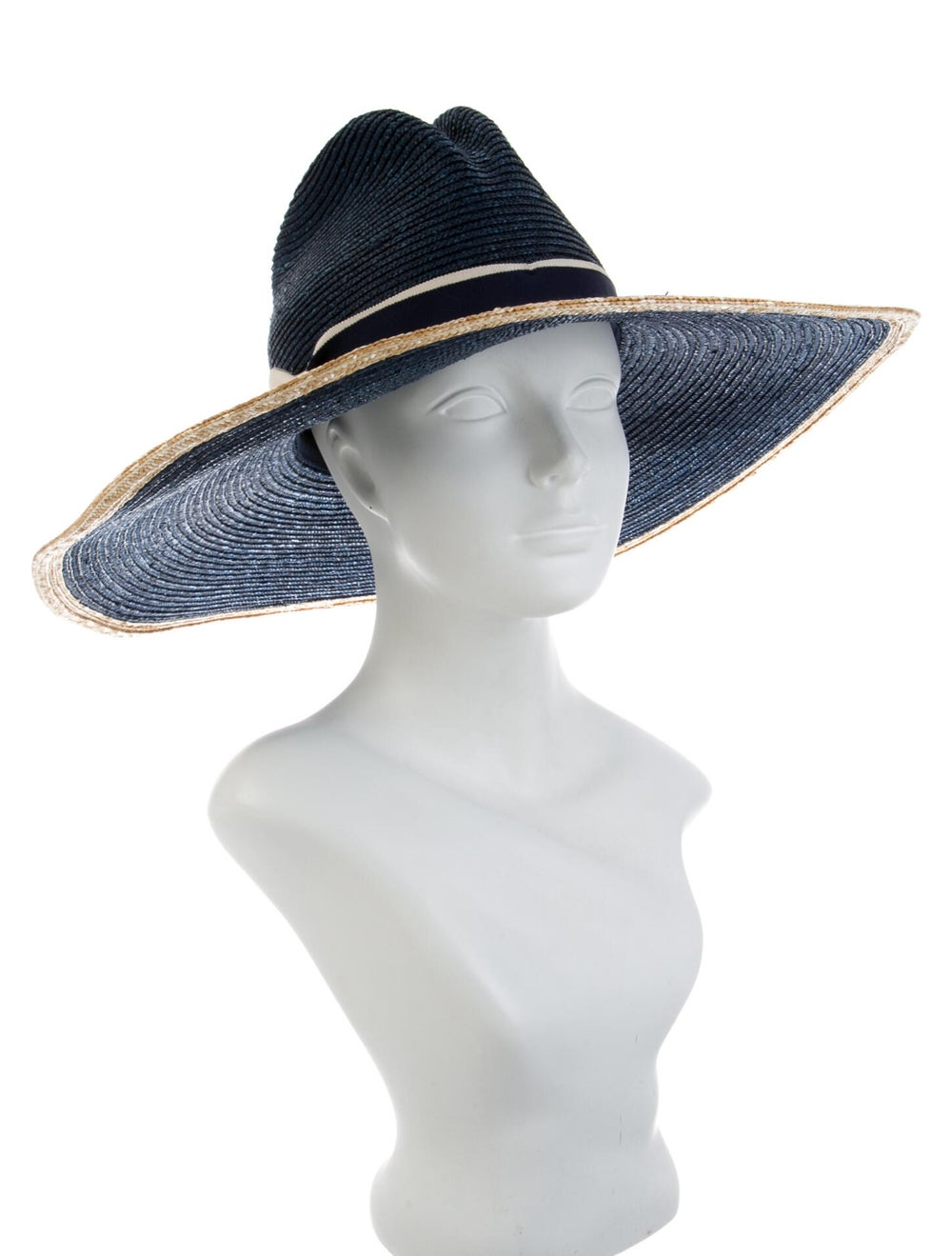 Veronica Beard Straw Wide Brim Hat Blue - image 3