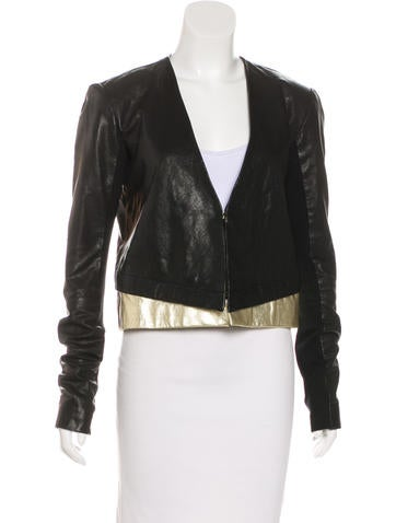 Veda Collarless Leather Jacket None