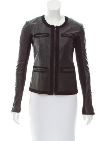 Veda Leather Collarless Jacket None